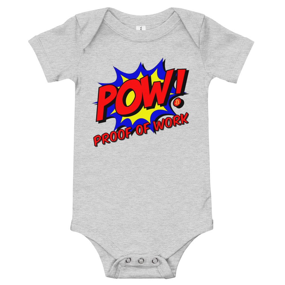 Proof Of Work Bitcoin SV Baby Bodysuit Athletic Heather 3-6m - zeroconfs