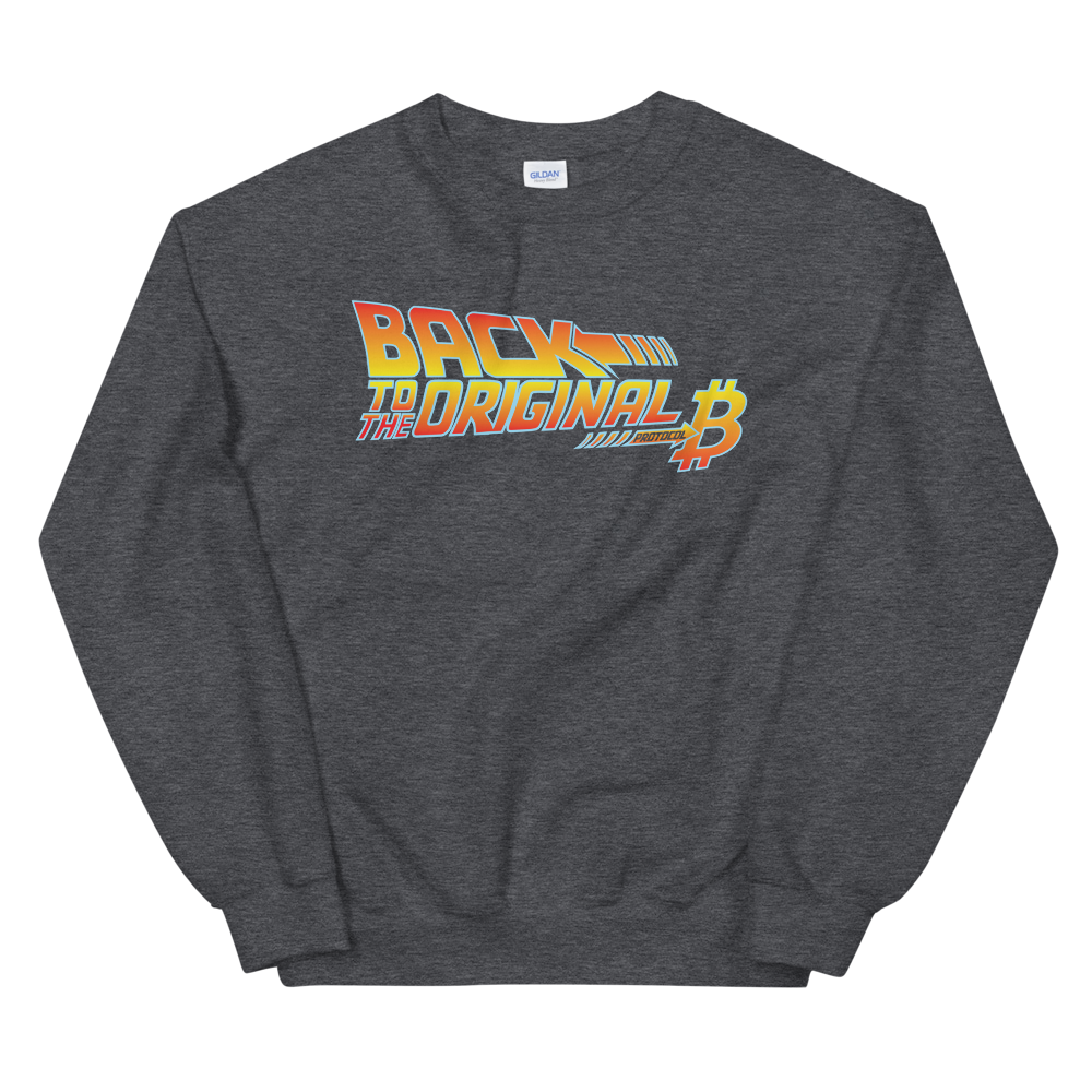 Back To The Original Bitcoin Protocol Sweatshirt Dark Heather S - zeroconfs