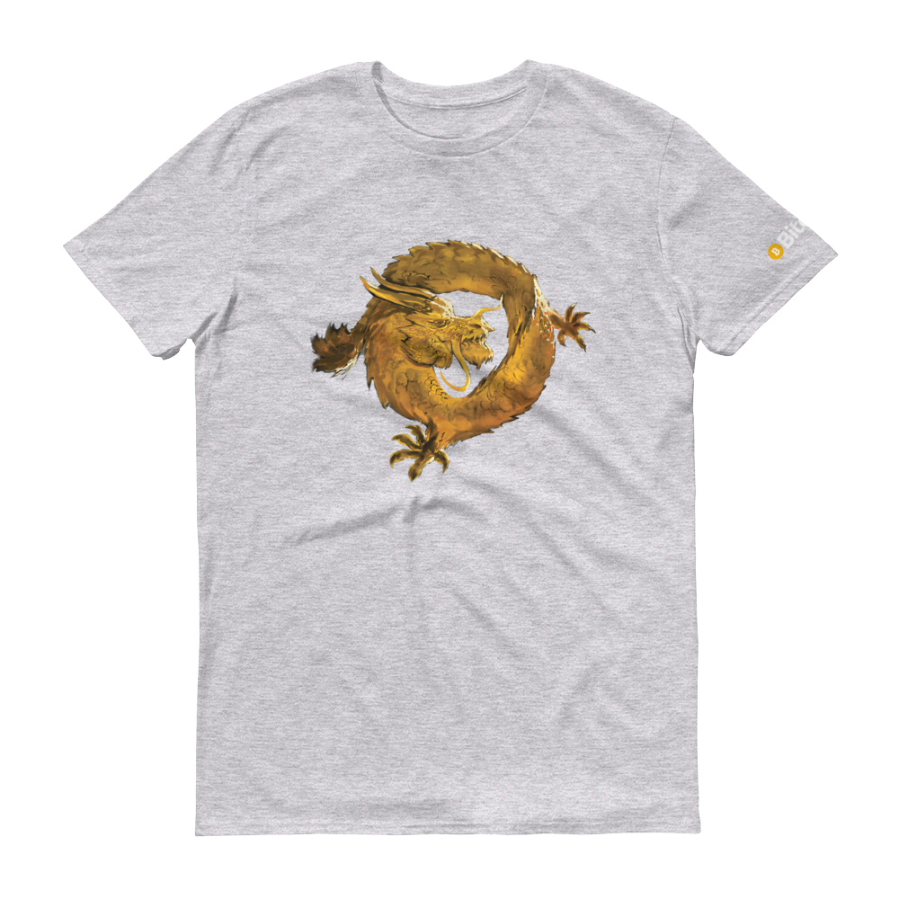 Bitcoin SV Woken Dragon Short-Sleeve T-Shirt Heather Grey S - zeroconfs