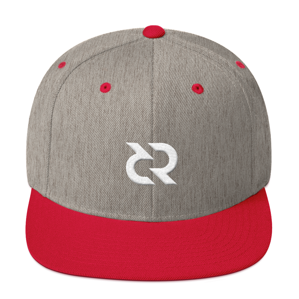 Decred Snapback Hat Heather Grey/ Red  - zeroconfs