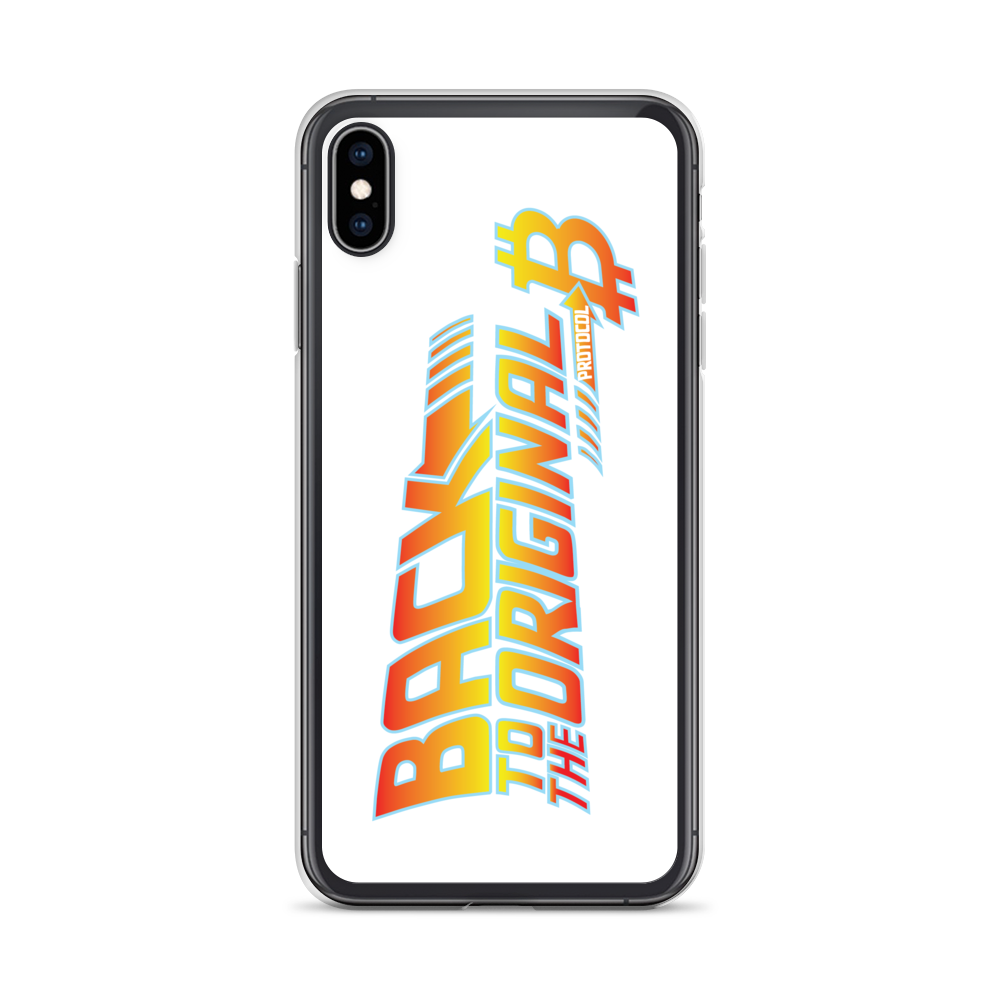 Back To The Original Bitcoin Protocol iPhone Case White iPhone XS Max  - zeroconfs