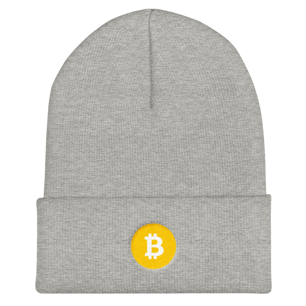 Bitcoin SV Logo Cuffed Beanie Heather Grey  - zeroconfs