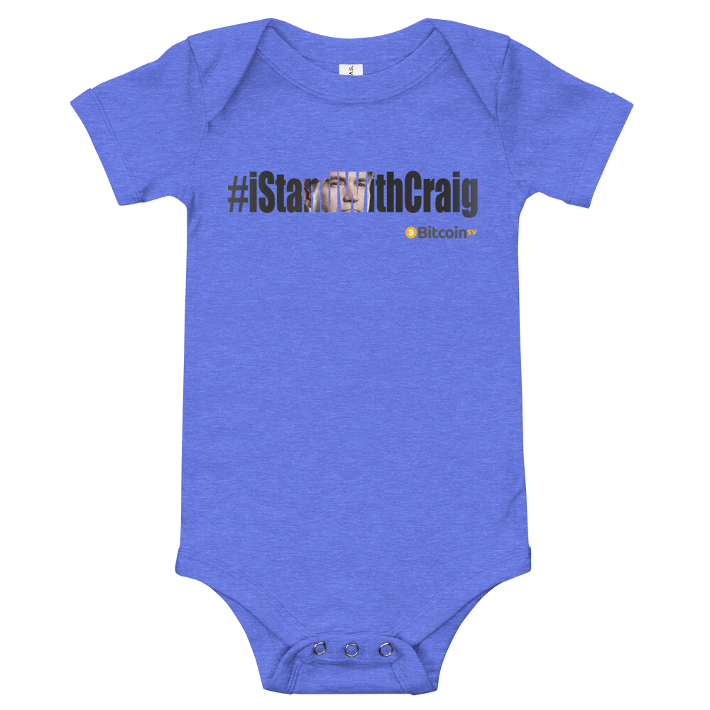 #IStandWithCraig Bitcoin SV Baby Bodysuit Heather Columbia Blue 3-6m - zeroconfs