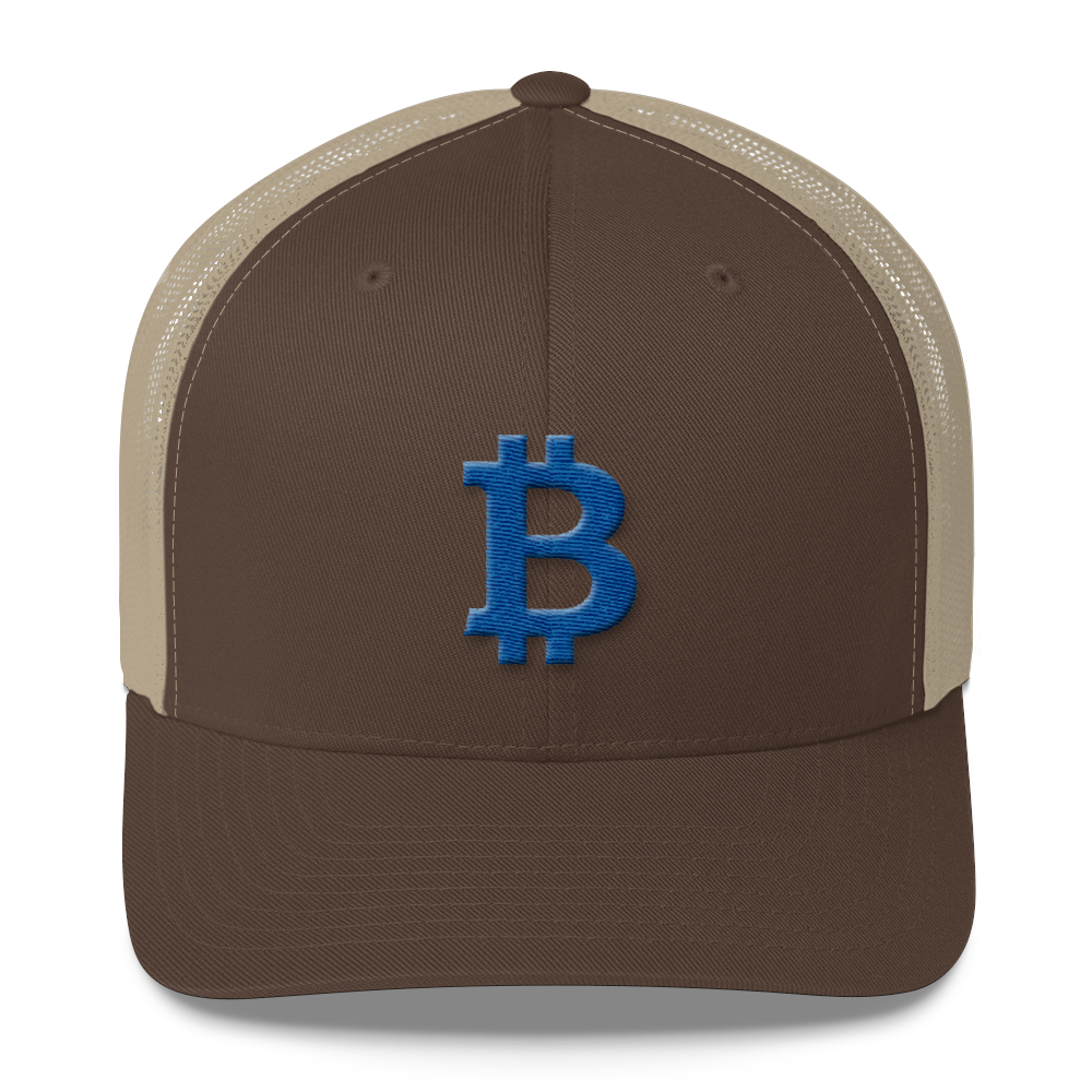 Bitcoin B Trucker Cap Blue Brown/ Khaki  - zeroconfs