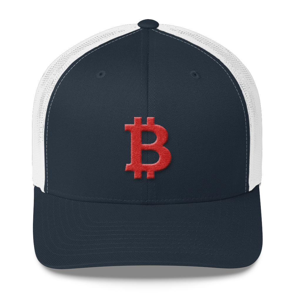 Bitcoin B Trucker Cap Red Navy/ White  - zeroconfs