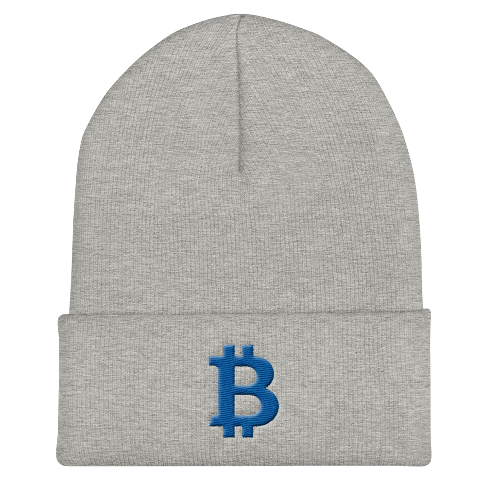Bitcoin B Cuffed Beanie Blue Heather Grey  - zeroconfs