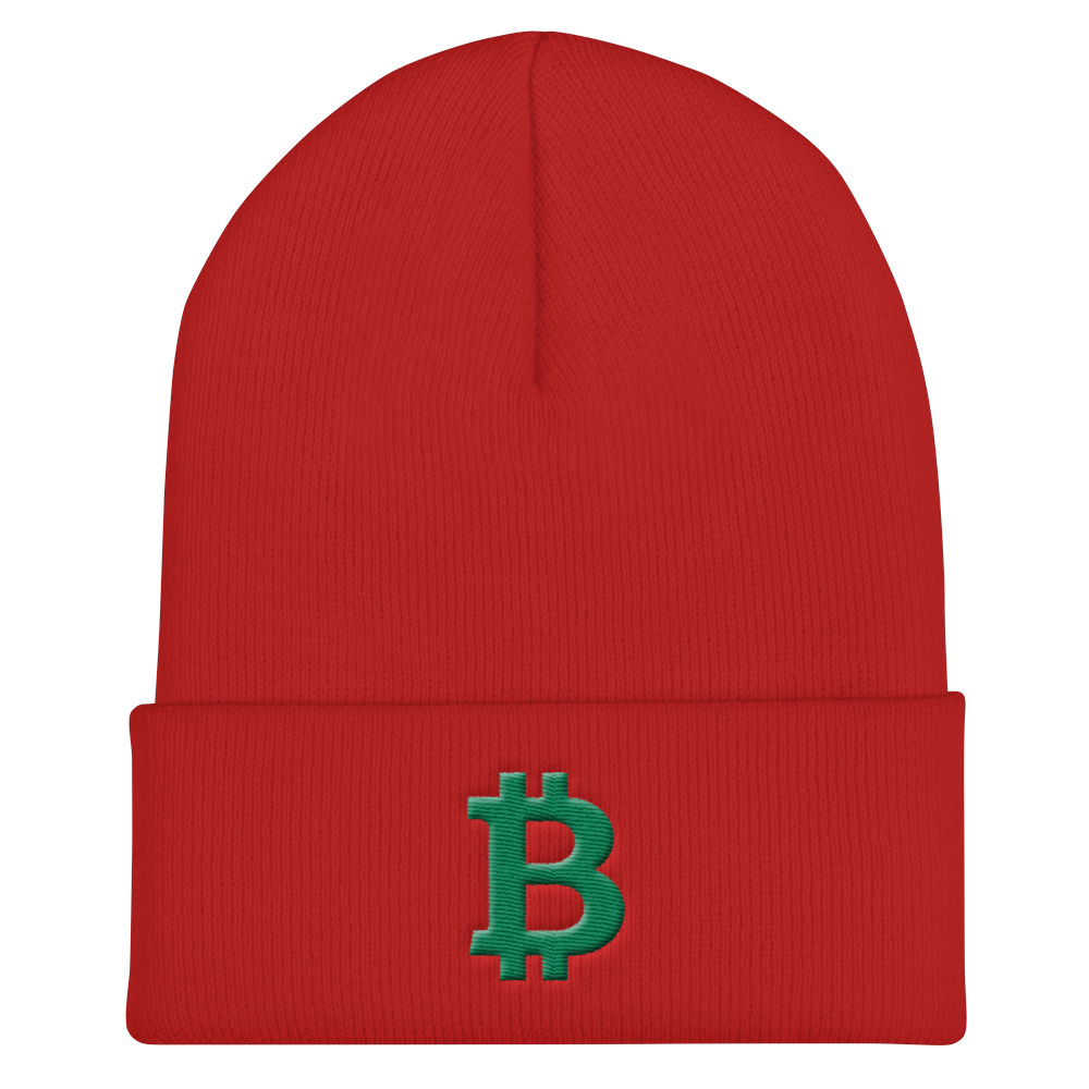 Bitcoin B Cuffed Beanie Green Red  - zeroconfs
