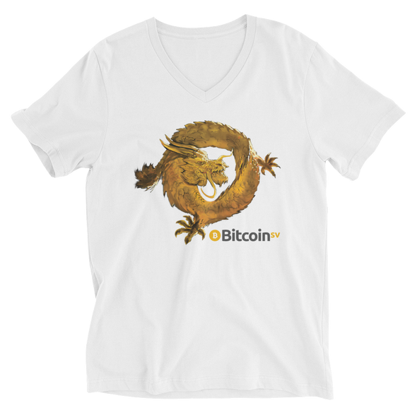 Bitcoin SV Woken Dragon V-Neck T-Shirt White S - zeroconfs