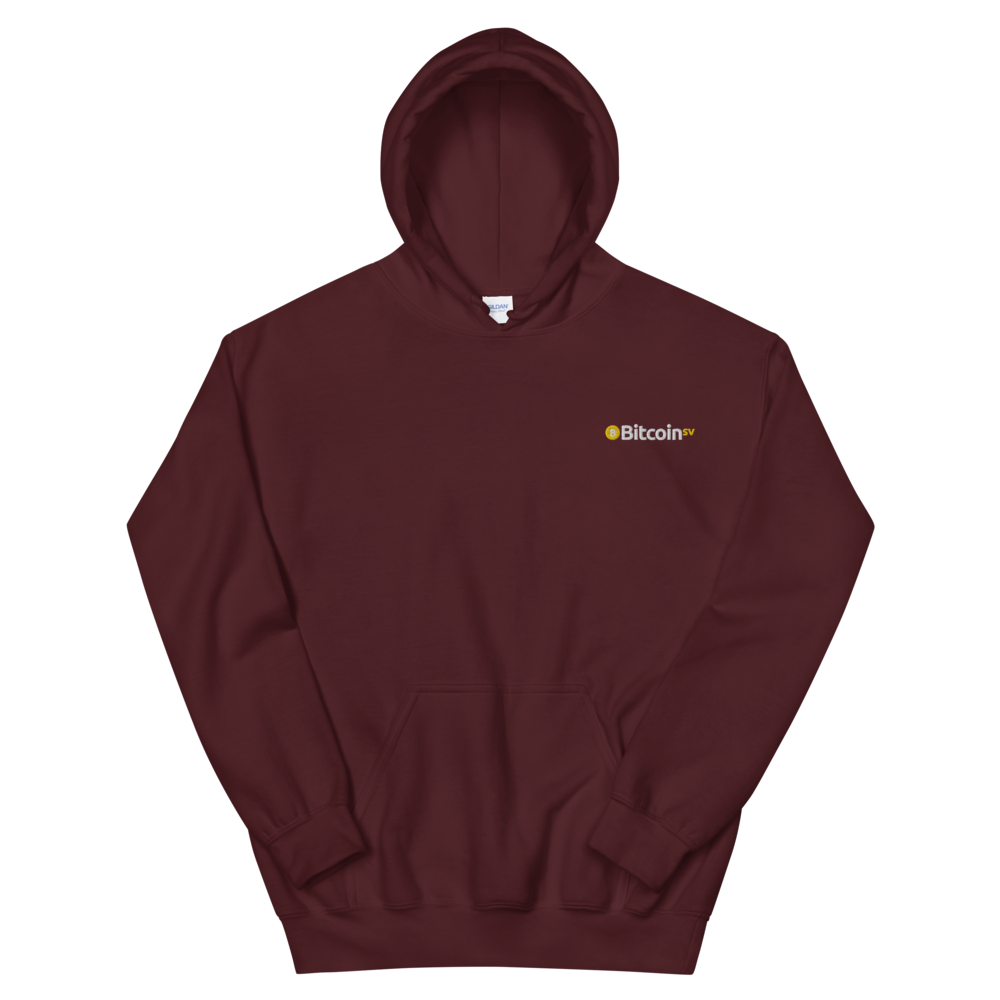 Bitcoin SV Embroidered Hooded Sweatshirt Maroon S - zeroconfs