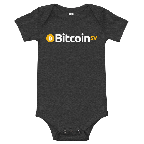 Bitcoin SV Baby Bodysuit Dark Grey Heather 3-6m - zeroconfs