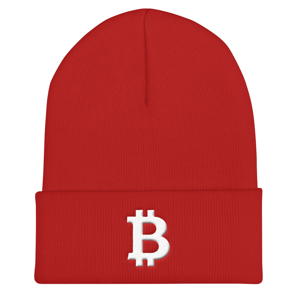 Bitcoin B Cuffed Beanie White Red  - zeroconfs