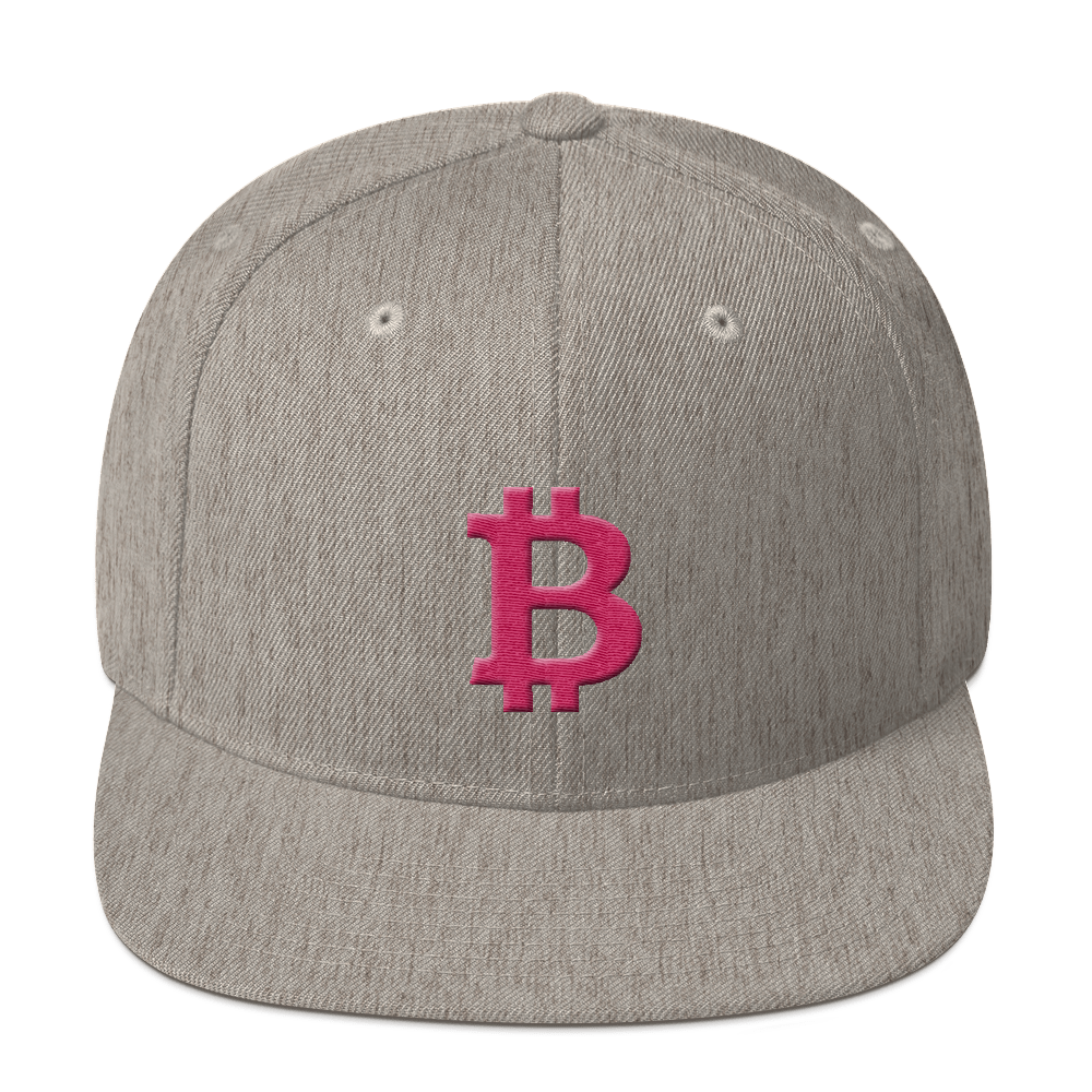 Bitcoin B Snapback Hat Pink Heather Grey  - zeroconfs
