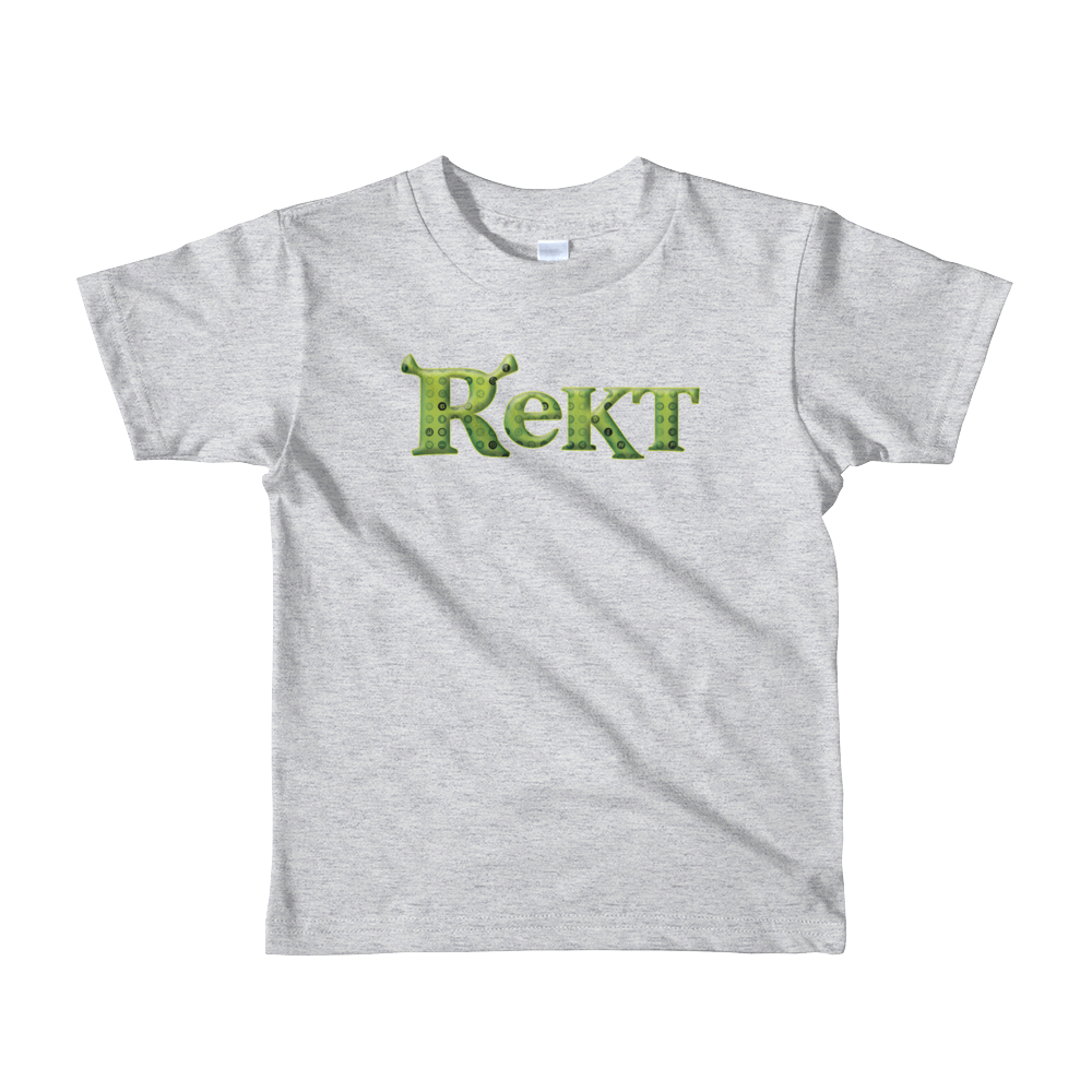 Rekt Crypto Short Sleeve Kids T-Shirt Heather Grey 2yrs - zeroconfs