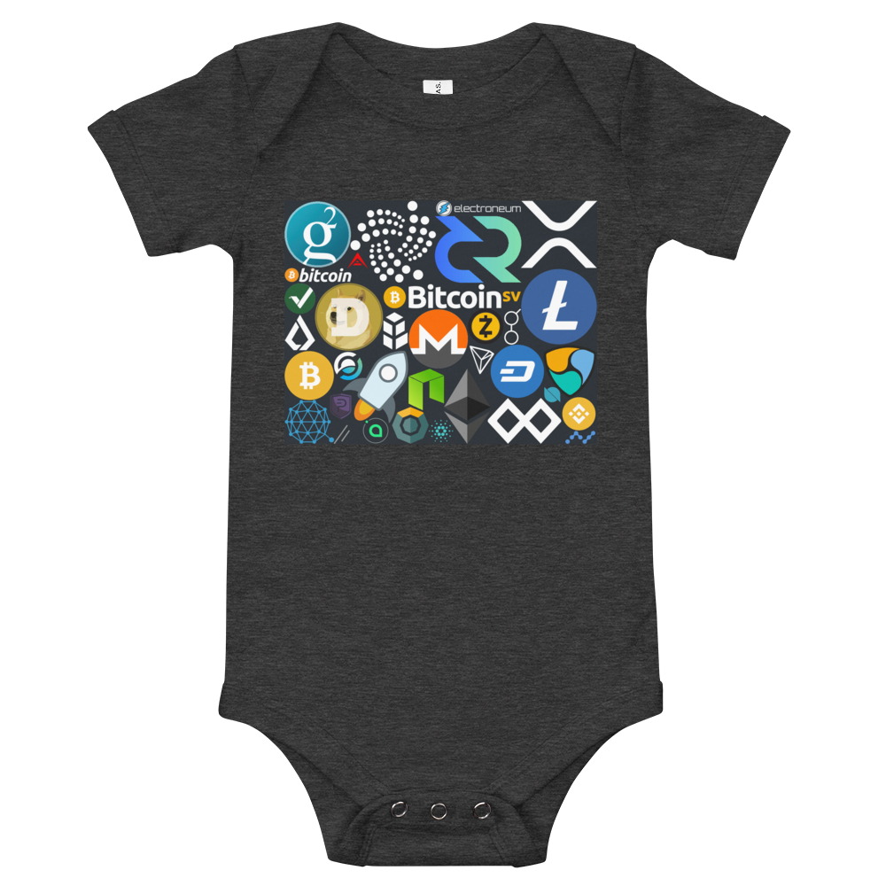 Crypto Calling Baby Bodysuit Dark Grey Heather 3-6m - zeroconfs