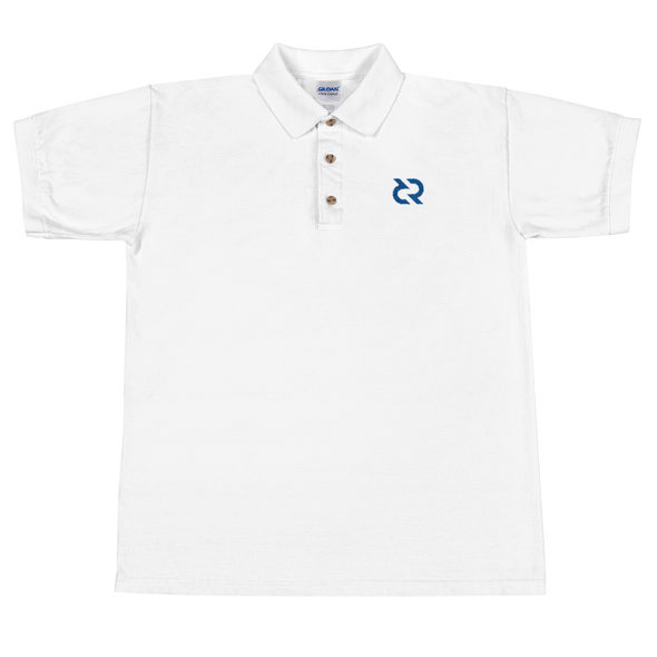 Decred Embroidered Polo Shirt White S - zeroconfs