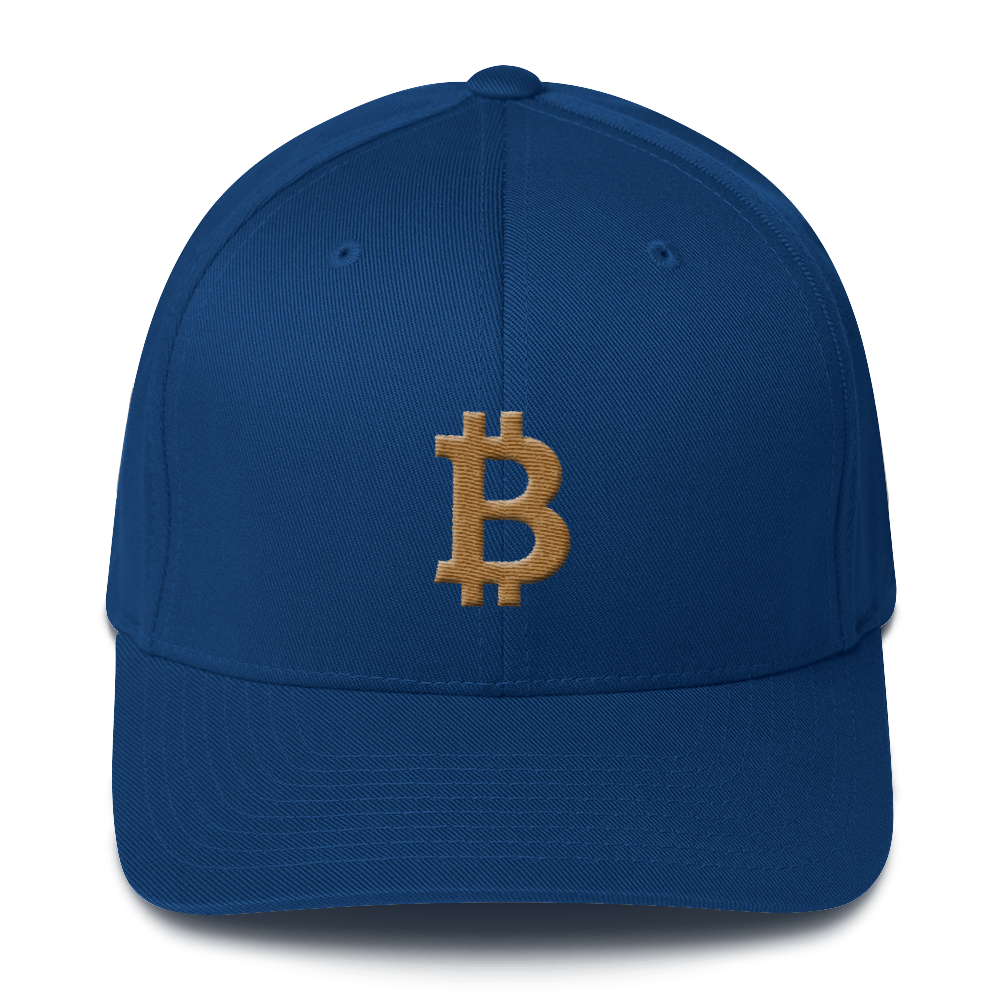 Bitcoin B Flexfit Cap Gold Royal Blue S/M - zeroconfs