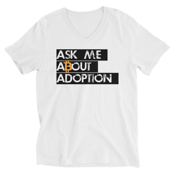 Ask Me About Adoption Bitcoin V-Neck T-Shirt White S - zeroconfs
