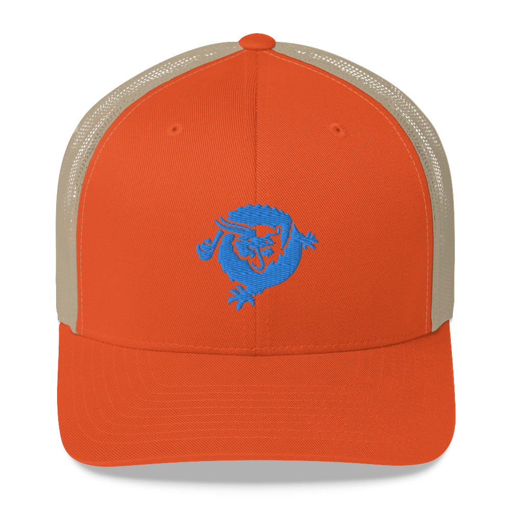 Bitcoin SV Dragon Trucker Cap Blue Rustic Orange/ Khaki  - zeroconfs