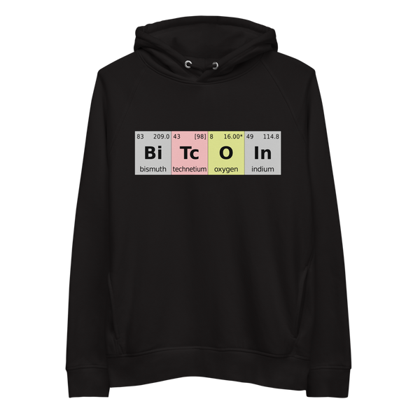 Bitcoin Periodic Table Premium Eco Hoodie Black S - zeroconfs