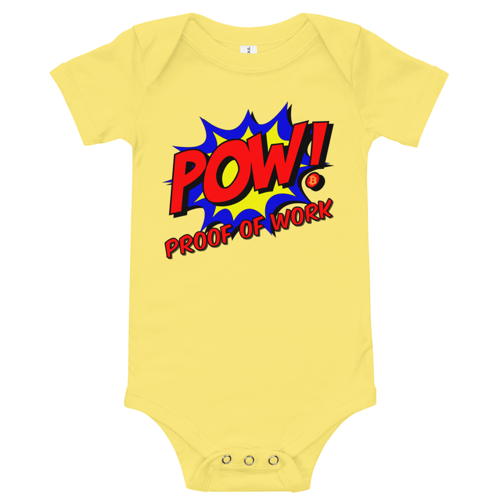 Proof Of Work Bitcoin SV Baby Bodysuit Yellow 3-6m - zeroconfs