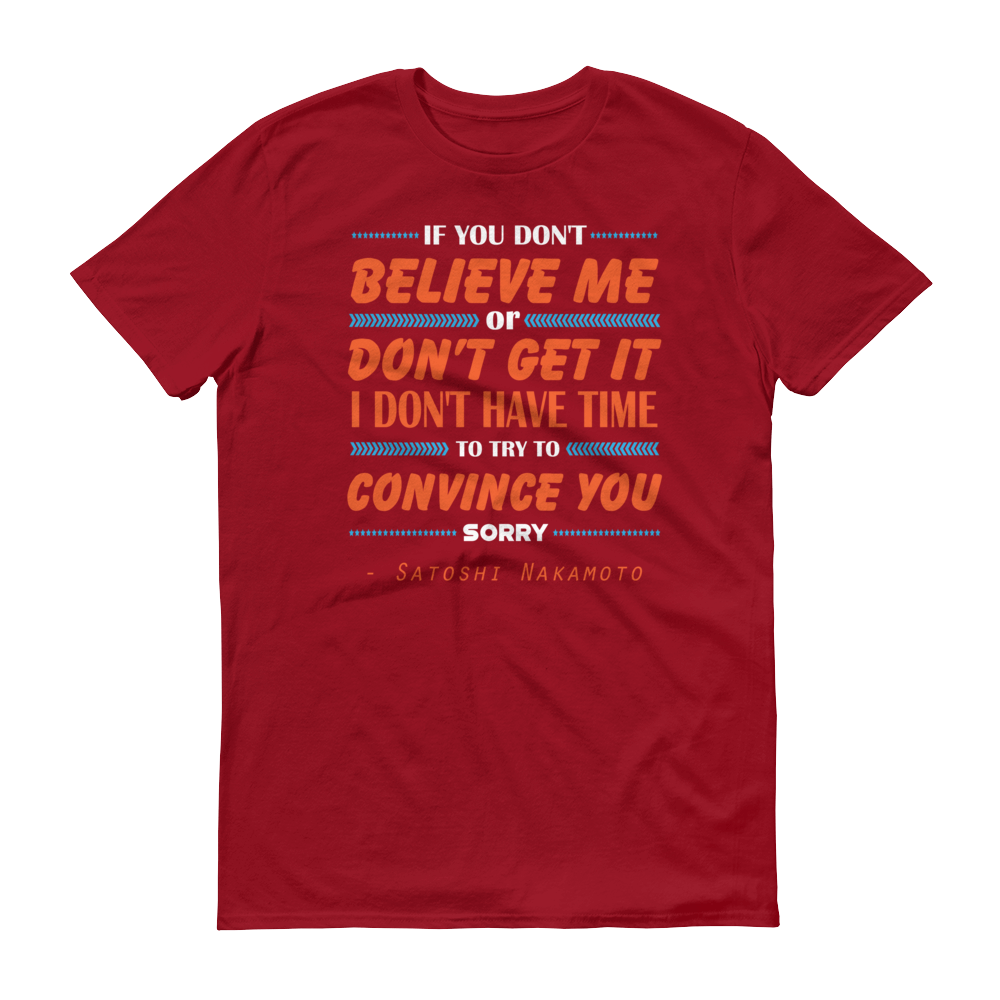 If You Don't Believe Me Bitcoin Short-Sleeve T-Shirt Orange Independence Red S - zeroconfs