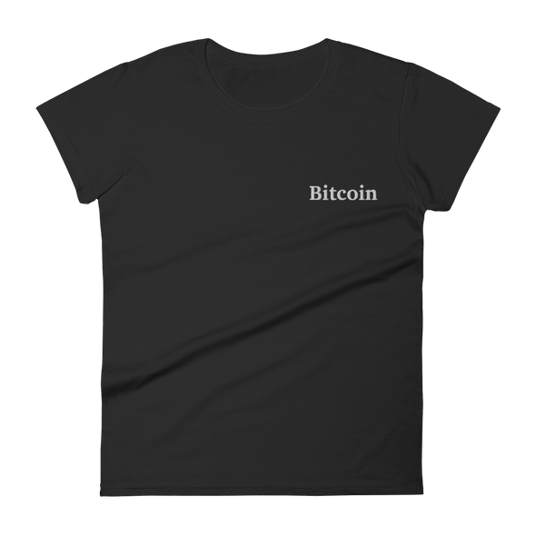 Bitcoin By Satoshi Embroidered Women's Short Sleeve T-Shirt S  - zeroconfs