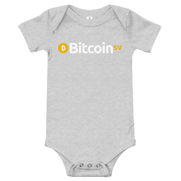 Bitcoin SV Baby Bodysuit Athletic Heather 3-6m - zeroconfs