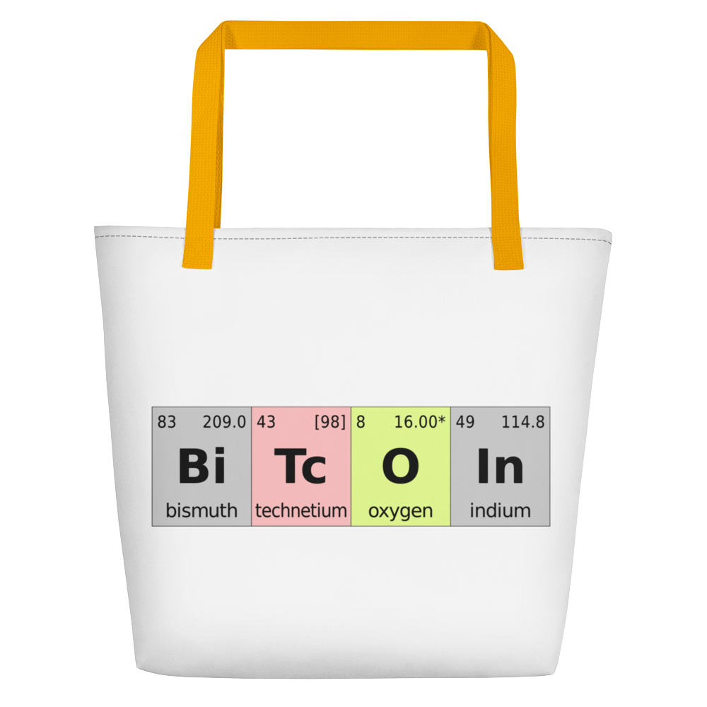 Bitcoin Periodic Table White Beach Bag Yellow  - zeroconfs