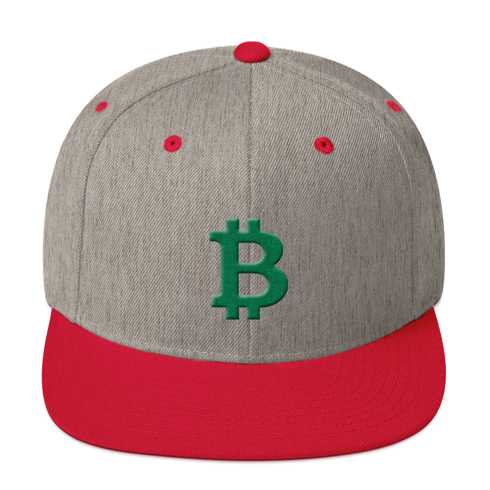 Bitcoin B Snapback Hat Green Heather Grey/ Red  - zeroconfs