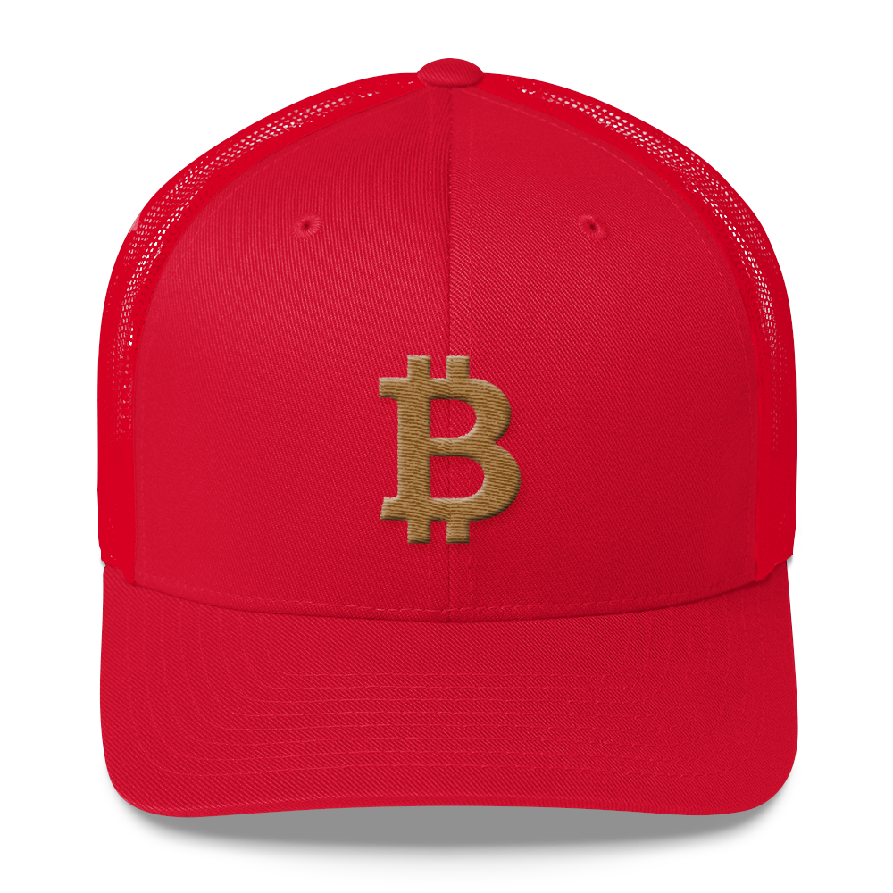 Bitcoin B Trucker Cap Gold Red  - zeroconfs