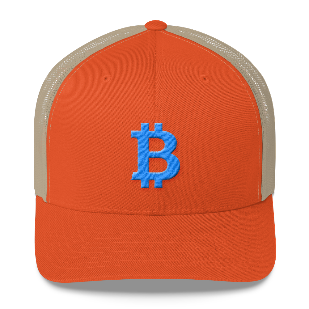 Bitcoin B Trucker Cap Teal Rustic Orange/ Khaki  - zeroconfs