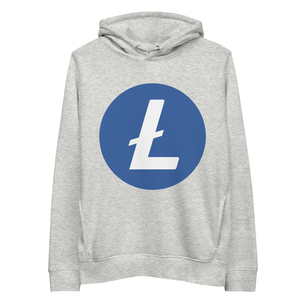 Litecoin Premium Eco Hoodie Heather Grey S - zeroconfs