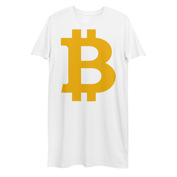 Bitcoin B Premium T-Shirt Dress White XS - zeroconfs