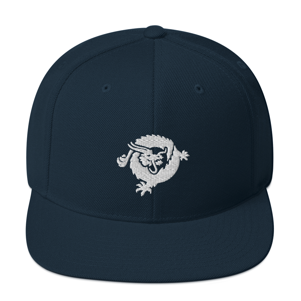 Bitcoin SV Dragon Snapback Hat White Dark Navy  - zeroconfs