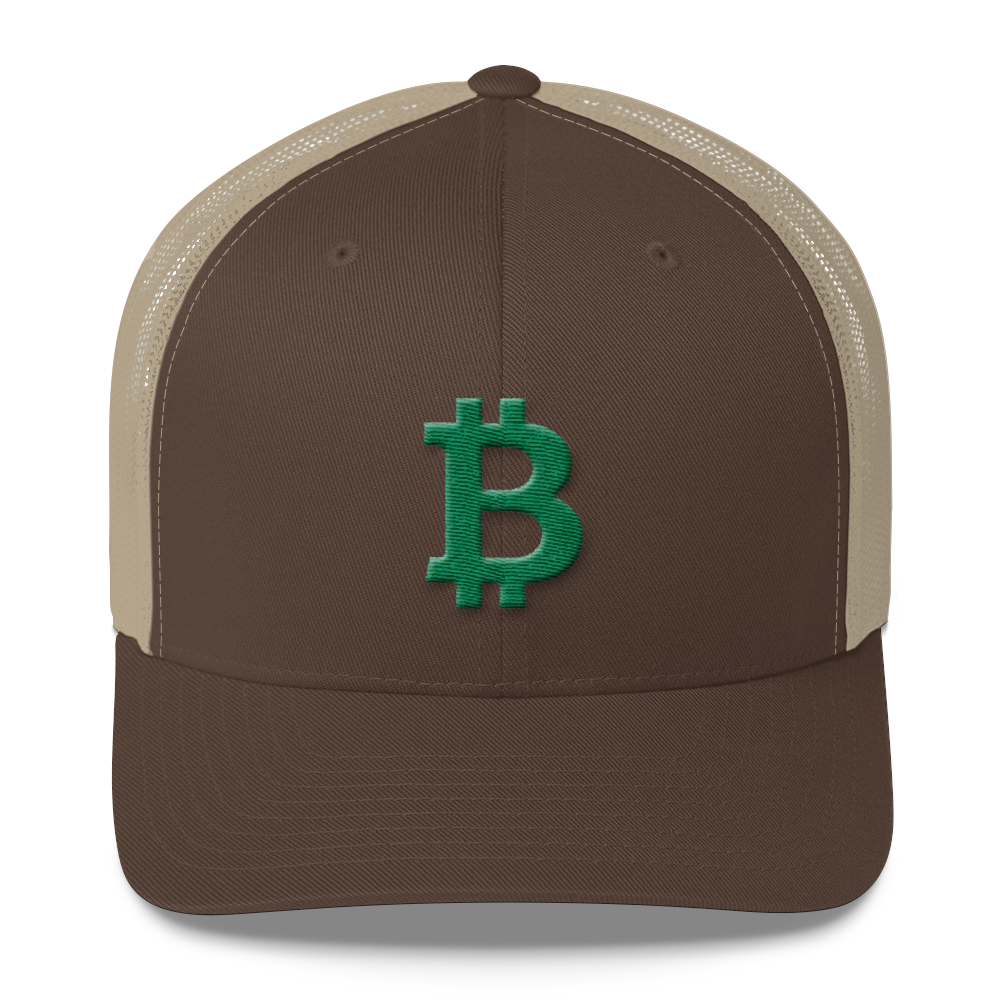 Bitcoin B Trucker Cap Green Brown/ Khaki  - zeroconfs