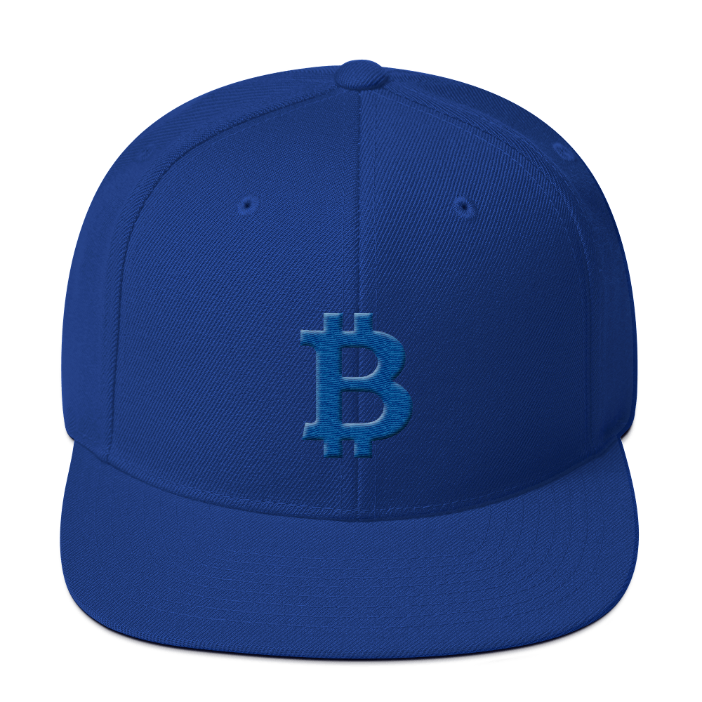 Bitcoin B Snapback Hat Blue Royal Blue  - zeroconfs