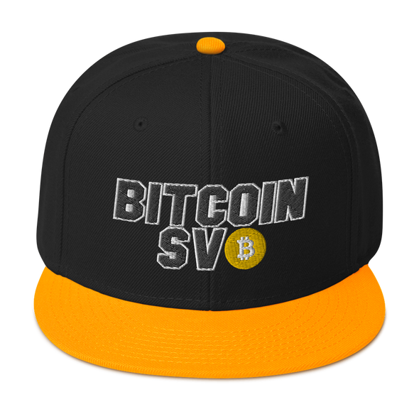 Bitcoin SV Sports Snapback Hat Yellow Visor Default Title  - zeroconfs
