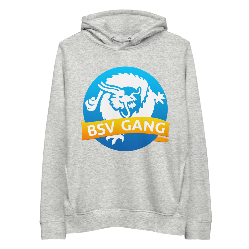 Bitcoin SV Gang Premium Eco Hoodie Heather Grey S - zeroconfs