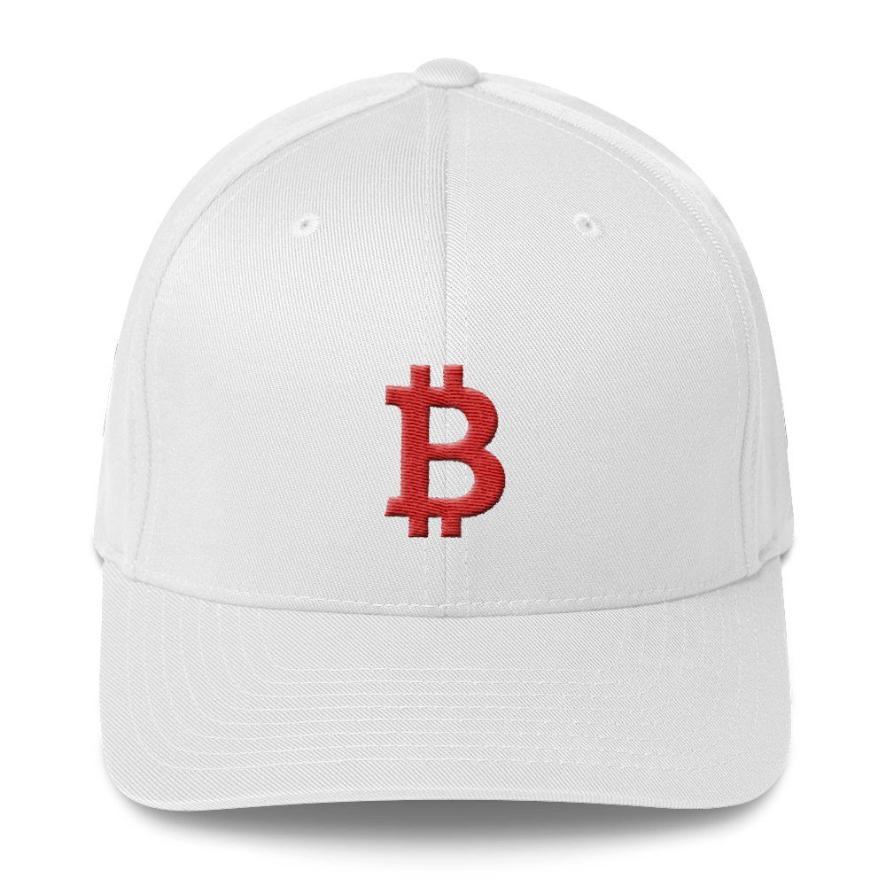 Bitcoin B Flexfit Cap Red White S/M - zeroconfs