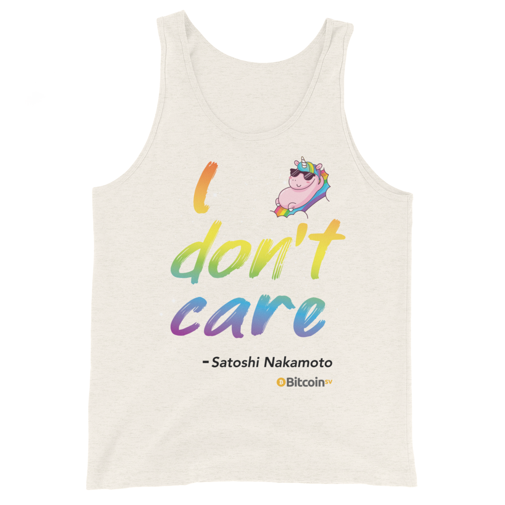 I Don't Care Bitcoin SV Tank Top Oatmeal Triblend XS - zeroconfs