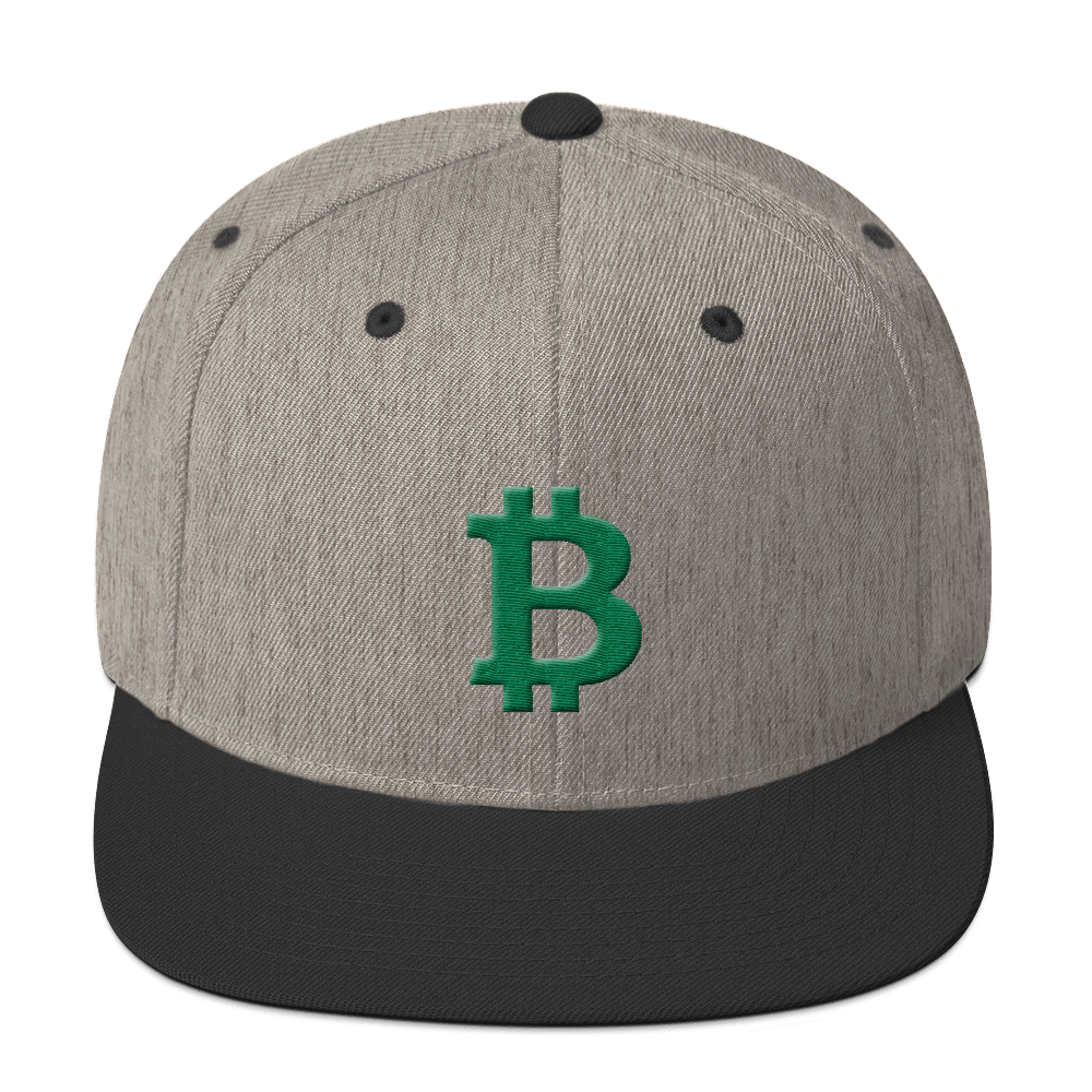 Bitcoin B Snapback Hat Green Heather/Black  - zeroconfs