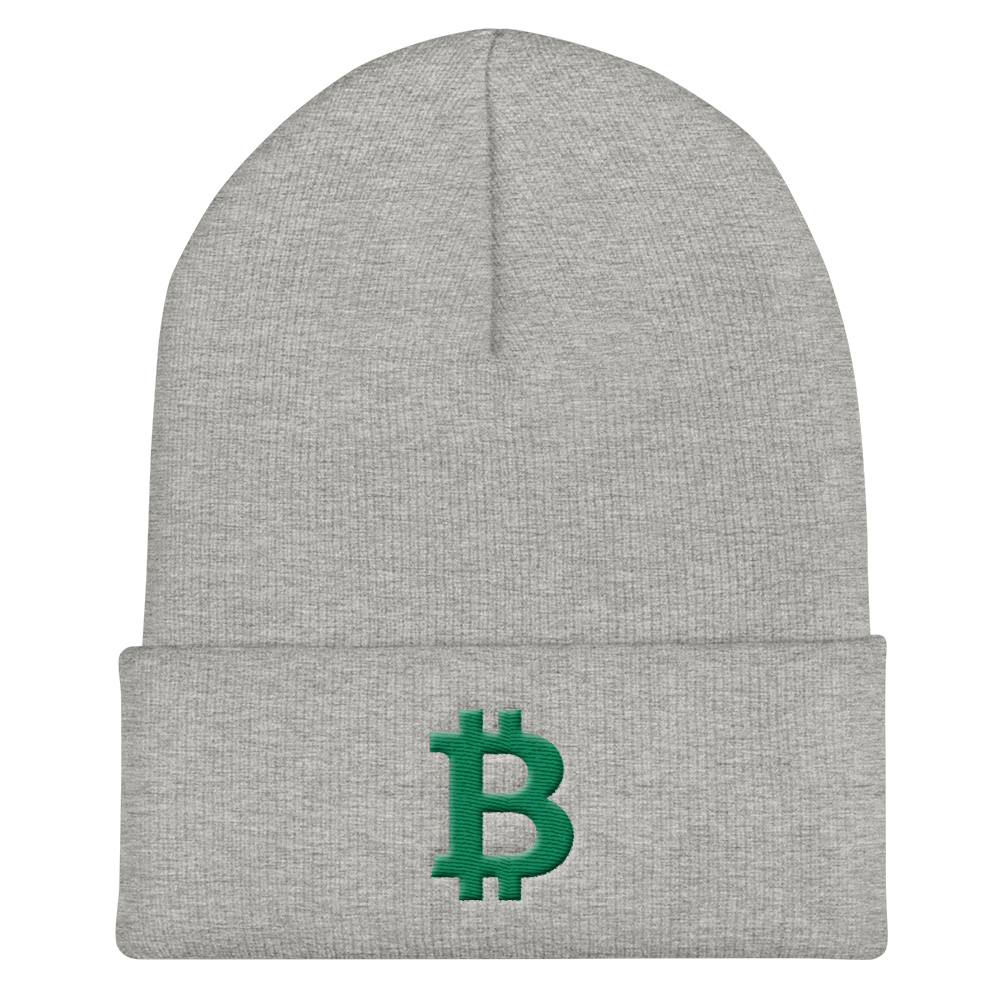 Bitcoin B Cuffed Beanie Green Heather Grey  - zeroconfs