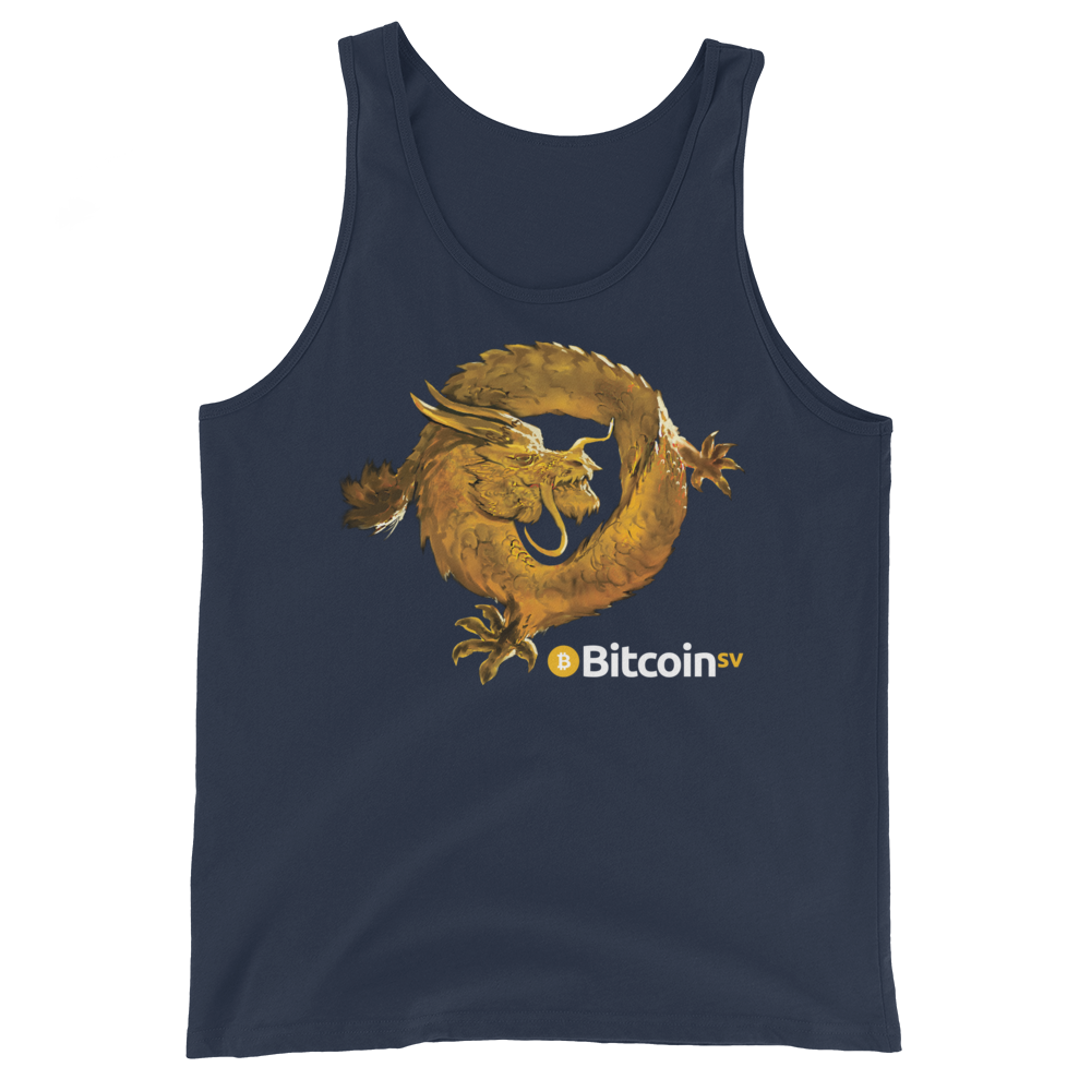 Bitcoin SV Woken Dragon Tank Top Navy XS - zeroconfs