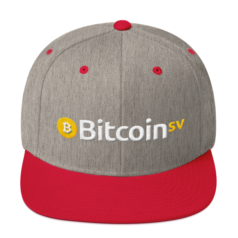 Bitcoin SV Snapback Hat Heather Grey/ Red  - zeroconfs