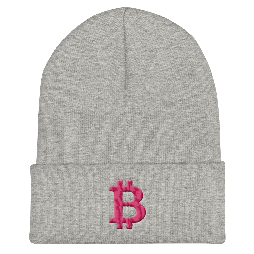 Bitcoin B Cuffed Beanie Pink Heather Grey  - zeroconfs