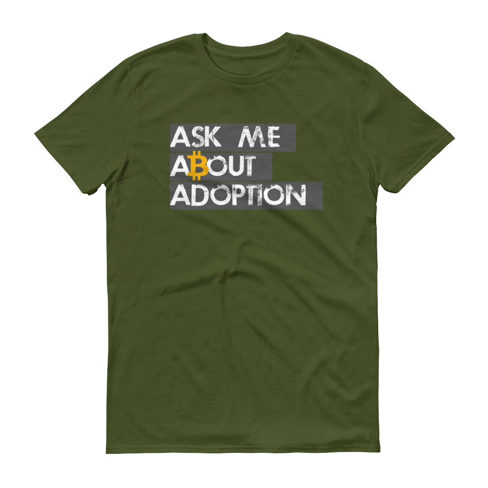 Ask Me About Adoption Bitcoin Short-Sleeve T-Shirt City Green S - zeroconfs
