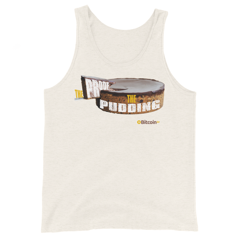 Proof Of Pudding Bitcoin SV Tank Top Oatmeal Triblend XS - zeroconfs