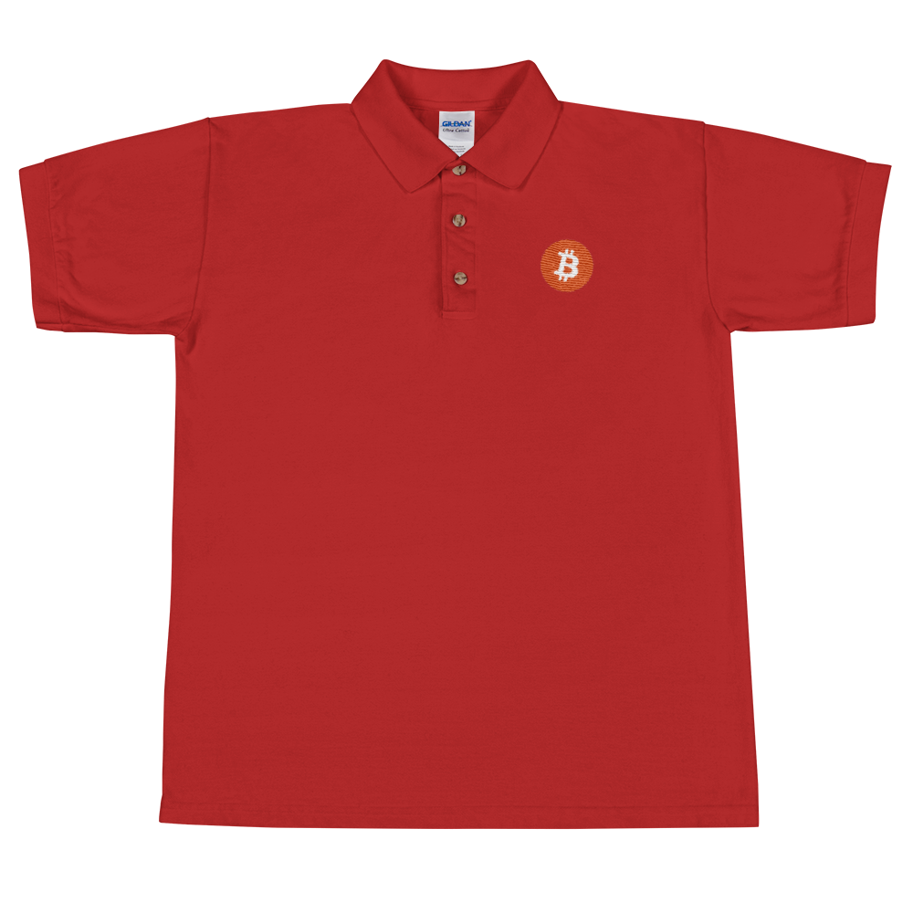 Bitcoin Core Embroidered Polo Shirt Red S - zeroconfs