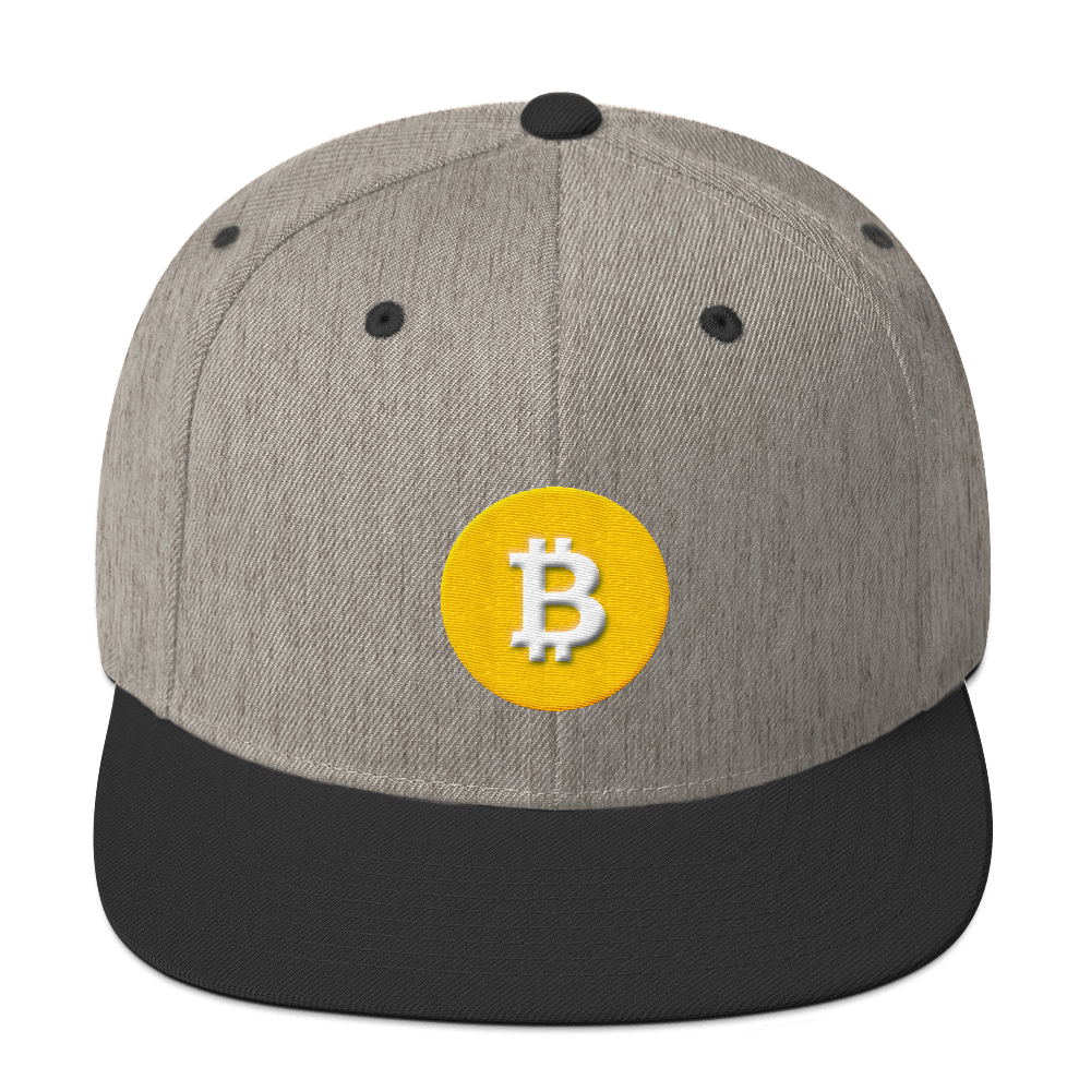 Bitcoin SV Logo Snapback Hat Heather/Black  - zeroconfs