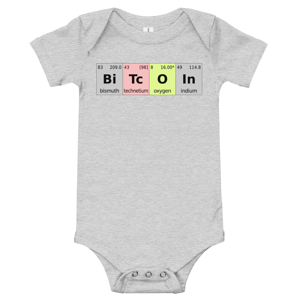 Bitcoin Periodic Table Baby Bodysuit Athletic Heather 3-6m - zeroconfs